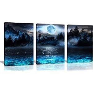 aburaeart 蓝绿色海洋现墙壁装饰画 12x16 英寸 x3 件