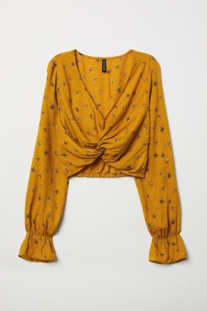V-neck Blouse - Dark yellow/floral - Ladies | H&M US