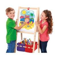 3合1儿童立式木质画架,带白板可调高度