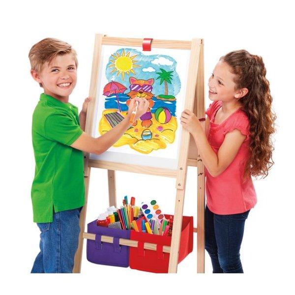 儿童三合一立式木质画架,带白板可调高度