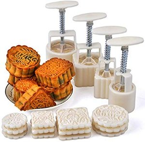 Amazon.com: Hleeduo® Mid-Autumn Festival Hand-Pressure Moon Cake Mould With 12 Pcs Mode Pattern For 4 Sets: Kitchen & Dining