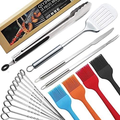 QIYIHOME 不锈钢烧烤工具18件套 包含10支烤串