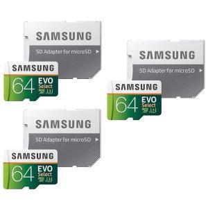 Samsung MicroSDXC EVO Select Memory Card 3-Pack