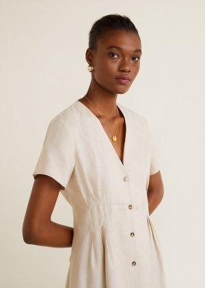 Pleats detail linen-blend dress - Women | Mango USA