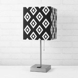 Urban Shop Fabric Black Ikat Shade Metallic Base Lamp