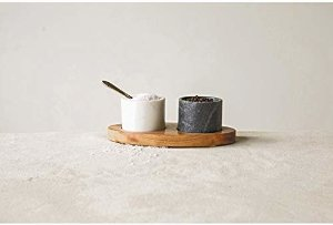 Amazon.com: Creative Co-Op 2 Marble Bowls on Mango Wood Base with Salt Spoon: Kitchen & Dining