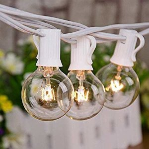 Amazon.com: 25Ft G40 Globe String Lights with Clear Bulbs,UL Listed Backyard Patio Lights,Hanging Indoor/Outdoor String Lights for Bistro Pergola Deckyard Market Cafe Gazebo Porch Letters Party Decor, White Wire: Home Improvement