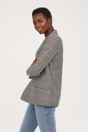 Straight-cut Jacket - Cream/black checked - | H&M US