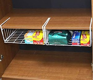 Amazon.com: Simple Houseware 2 Pack Under Shelf Basket, White: Gateway