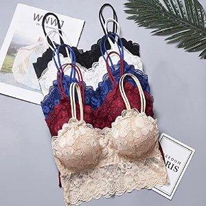 Qikafan Codiea Ladies' Lace Underwear Sexy Bra,Sexy Fashion Vest Padded Vest Women's Underwear Lace Bra