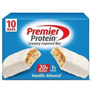 $10.24 一条仅$1.02Premier 香草杏仁蛋白能量棒 10条