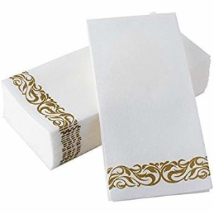 """Amazon.com: Simulinen Dinner Napkins – Gold & White – Decorative Cloth Like & Disposable Large Napkins – Soft, Absorbent & Durable (19""""x17"""" – Box of 60): Home & Kitchen"""