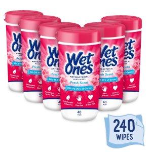 $11.88 每盒$1.98Wet Ones 手部抗菌湿巾 40抽 共6盒