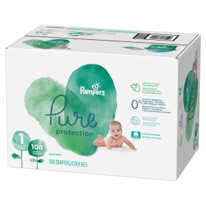 Buy 2, Get $15 Gift CardPampers Pure Protection Diapers, Size 1, 108 Count (Total 216 Diapers)