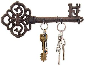 Amazon.com: Decorative Wall Mounted Cast Iron Key Holder - Vintage Key with 3 Hooks - Wall Mounted - Rustic Cast Iron Hanger- 10.8 x 4.7- with Screws and Anchors by Comfify: Office Products