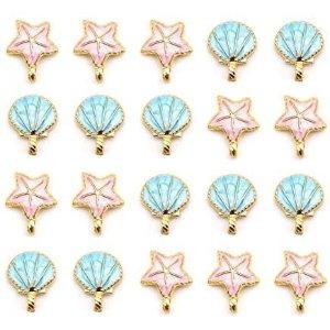 BigOtters 20 pcs Seashell Starfish Charms