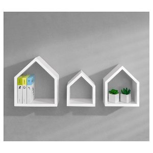Dolle Lodge Set Floating Wall Shelves - 3 Piece Set - White : Target