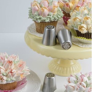 Amazon.com: NEW Russian Tulip Tips Stainless Steel Icing Piping Nozzles Pastry Decorating Tips Cake Cupcake Decorator icing dispenser (9 Piece lot): Kitchen & Dining