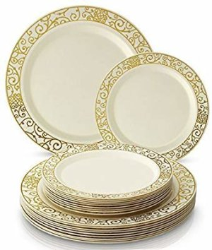 Amazon.com: PARTY DISPOSABLE 40 PC DINNERWARE SET   20 Dinner Plates   20 Salad/Dessert plates   Heavy Duty Plastic Dishes   Elegant Fine China Look   Upscale Wedding and Dining (Venetian Collection-White/Silver): Kitchen & Dining