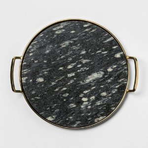 Decorative Round Tray - Gold/Black Marble - Project 62™ : Target