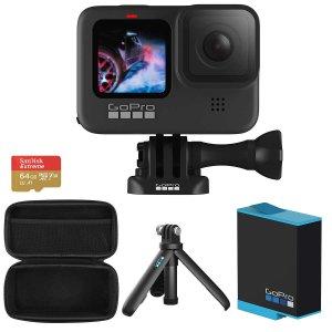 GoPro HERO9 Black 5K 运动相机 套装(额外电池+三脚架+64GB+包)