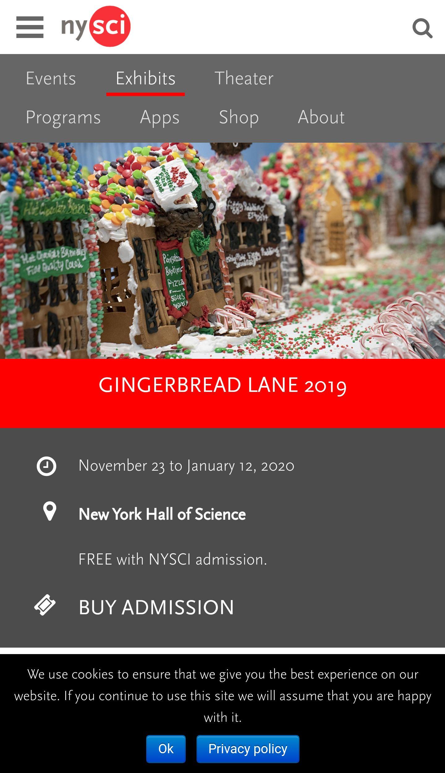 紐約科學館薑餅糖果小鎮展 Gingerbread Lane (11/23-1/12)