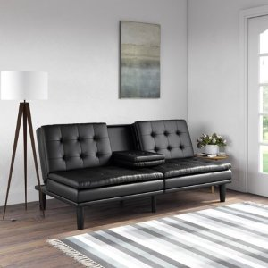 MAINSTAYSMemory Foam Faux Leather PillowTop Futon