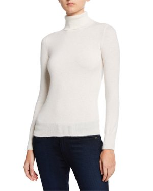 Neiman Marcus Cashmere Collection Basic Long-Sleeve Turtleneck Cashmere Sweater | Neiman Marcus