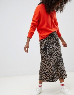 ASOS DESIGN Petite bias cut satin midi skirt in leopard print | ASOS