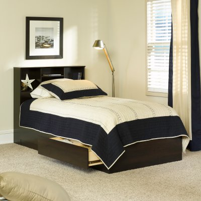 Mainstays Mates Storage Bed with Bookcase Headboard