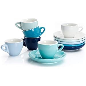 Sweese 401.003 Porcelain Espresso Cups with Saucers - 2 Ounce - Set of 6