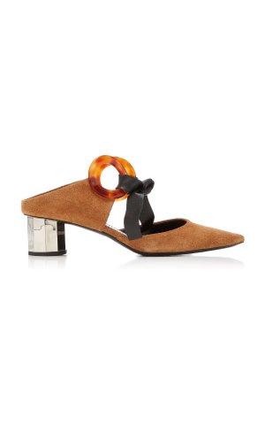 Leather-Trimmed Grommet-Embellished Suede Mules by Proenza Schouler | Moda Operandi