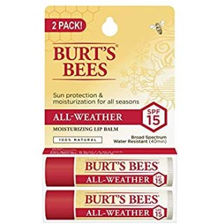 Burt's Bees 100% Natural All-Weather SPF15 Moisturizing Lip Balm, 2 Count