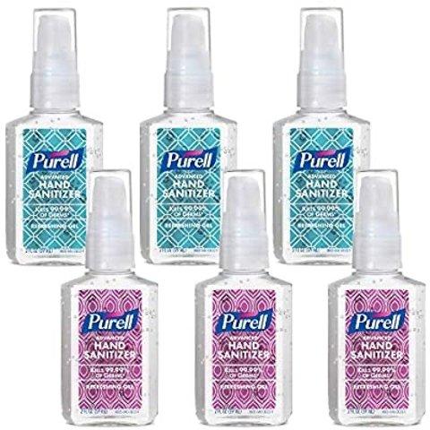 $19.40PURELL Advanced Hand Sanitizer Refreshing Gel Metallic Design Series, Clean Scent, 2 fl oz Pump Bottle (Pack of 6)