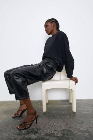 FAUX LEATHER SLOUCHY PANTS-High Waist-PANTS-TRF | ZARA United States