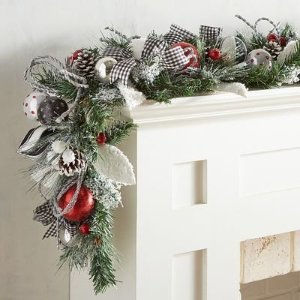 Frosted Faux Pine 6' Garland with Gingham Ribbon   Pier 1 Imports