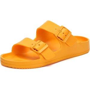 $9.99XIANV Men's Women Comfort Slide Sandals Double Buckle Adjustable EVA Flat Sandals with Arch Support