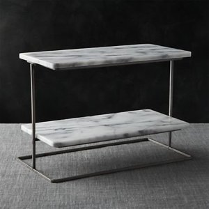 French Kitchen Marble 2-Tier Server + Reviews | Crate and Barrel