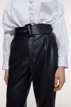 BELTED FAUX LEATHER PANTS-View all-PANTS-WOMAN | ZARA United States
