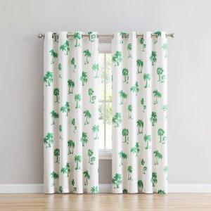 史低价:Mainstays 棕榈树印花窗帘,52