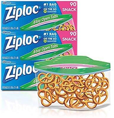 Ziploc小号零食保鲜袋 3盒x90片装