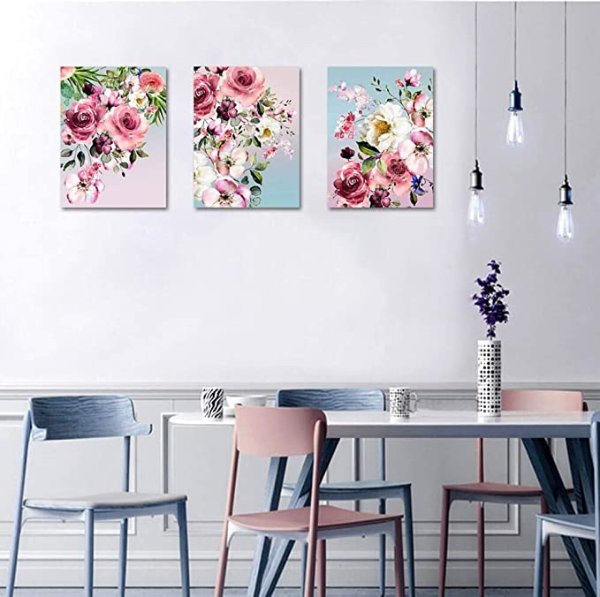 花卉帆布装饰画三件套 12x16