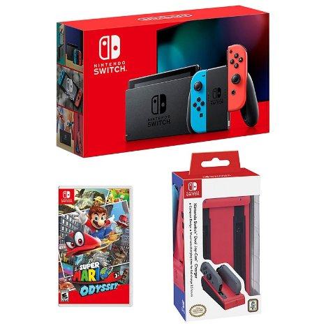 Nintendo Switch 主机套装 + 马力欧奥德赛 + 手柄充电器
