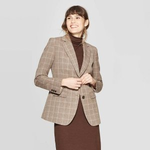 Women's Plaid Long Sleeve Button-Front Bi-Stretch Twill Blazer - A New Day™ Brown 4 : Target
