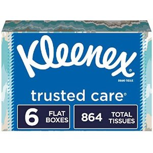 KleenexTrusted Care Facial Tissues, 6 Flat Boxes, 144 Tissues per Box