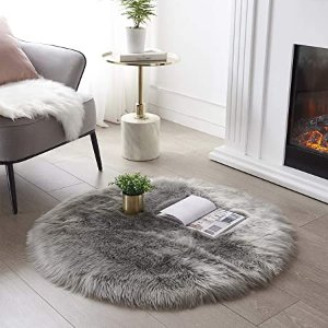 SERISSA Ultra Soft Round Faux Sheepskin Fur Area Rug