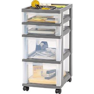 IRIS USA, 4-Drawer Rolling Storage Cart with Organizer Top