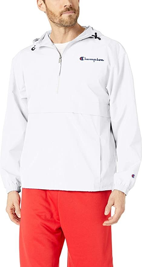 Champion 男士夹克Men's Packable Jacket, White, Medium: Clothing