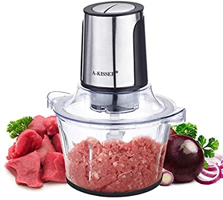Amazon.com: Electric Food Chopper, 8-Cup 300W Food Processor Meat Grinder with 2L Glass Bowl for Meat, Vegetables, Fruits and Nuts, Fast & Slow 2 Speeds, 4 Sharp Blades: Kitchen & Dining 食品切碎机