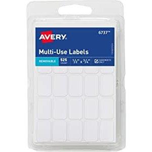Avery 迷你尺寸可移除可书写贴纸 0.5 x 0.75 525张